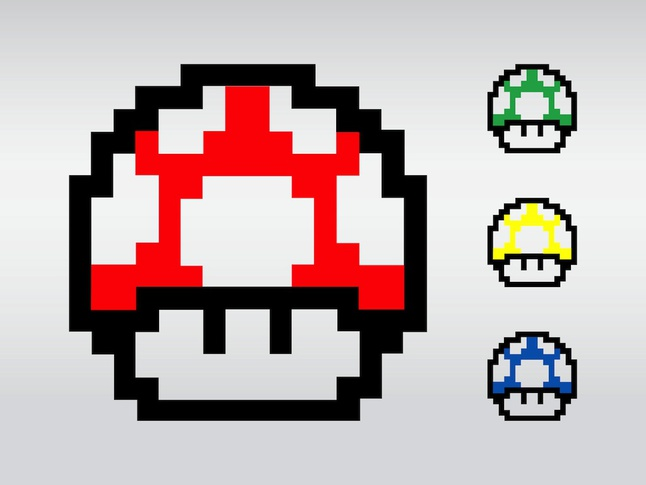 Super Mario Mushrooms vector free