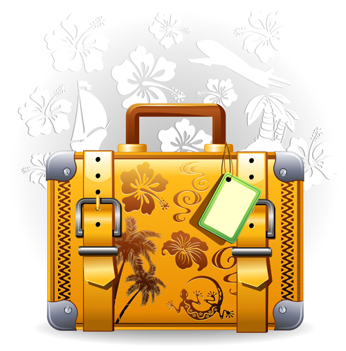 Summer travel suitcase backgrounds vector 01 free