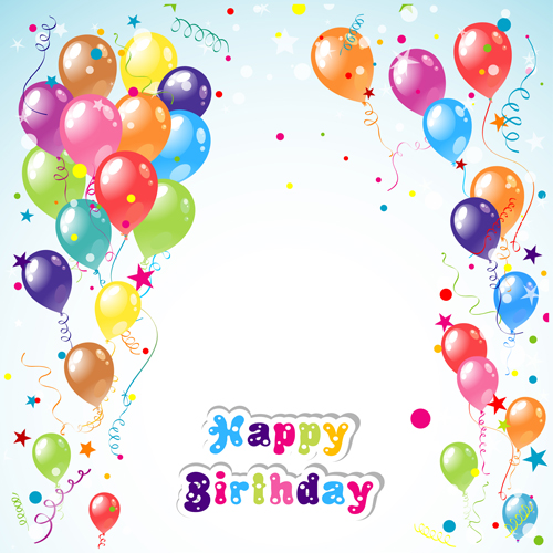 Balloon ribbon happy birthday background  01 free