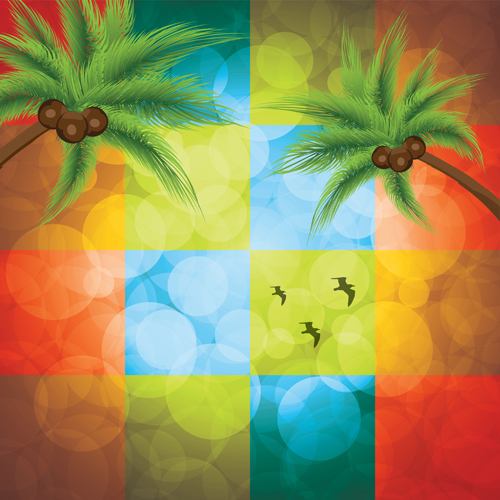 Shiny colored square with coconut tree background vector free