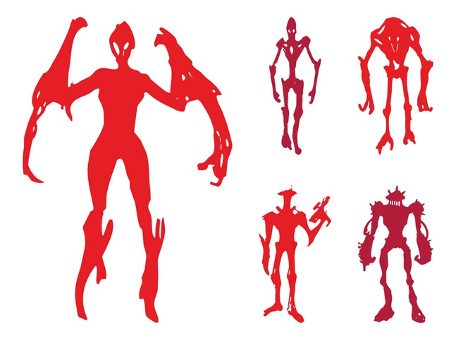 Alien Monsters Silhouettes vector free