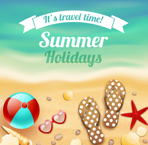 Summer Beach Vacation Background Art Vector 03 Free | Free Download