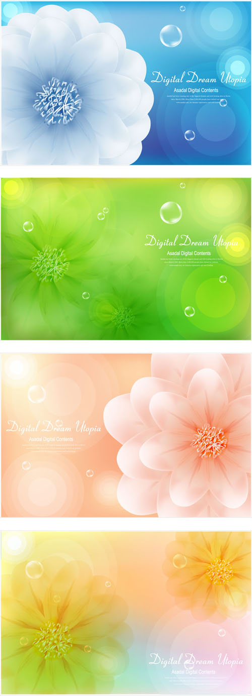 Brilliant flowers background vector 01 free