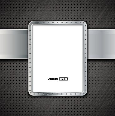 Metal frame and metal background vector graphics 02 free