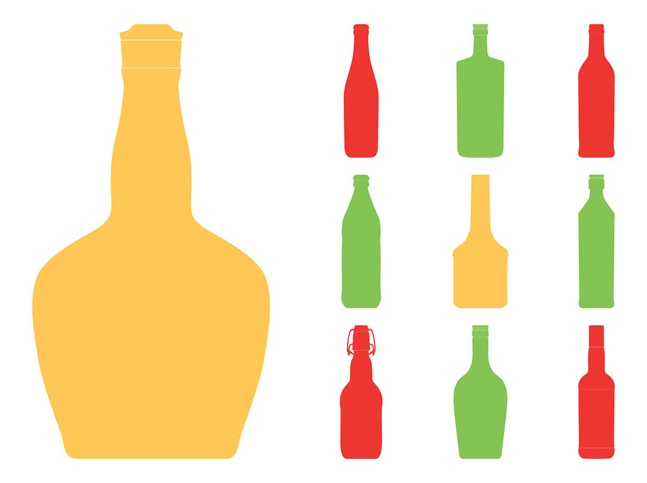 Bottle Silhouettes Set vector free