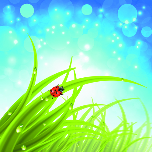 Brilliant spring natural vector background 03 free