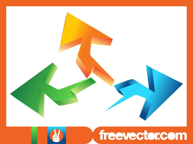 Colorful 3D Arrows vector free