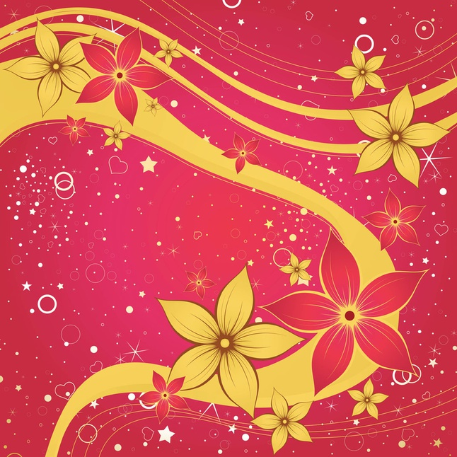 Gold Flowers vector free