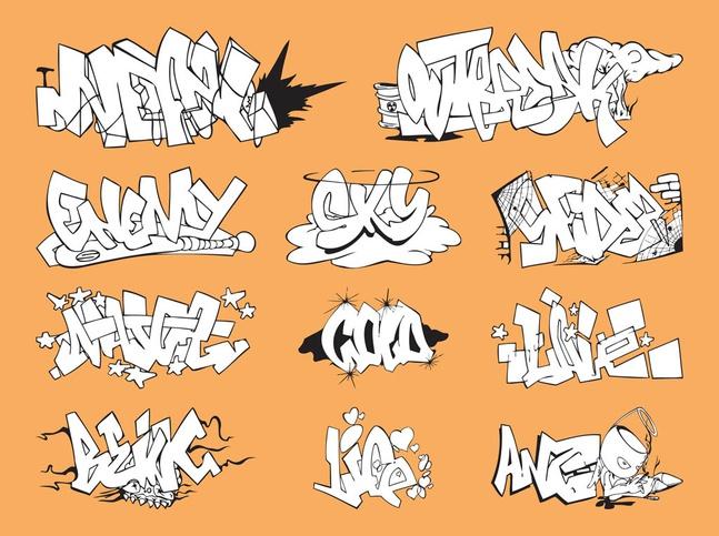 Graffiti Pieces Set vector free
