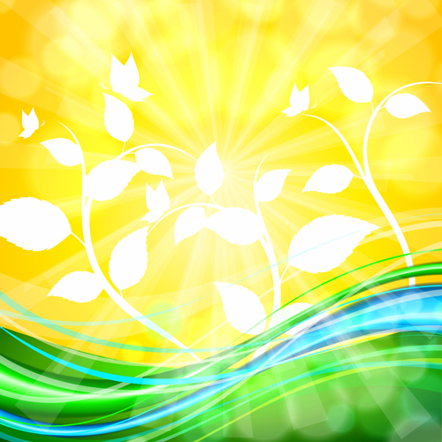 Shiny yellow background vector graphics 03 free