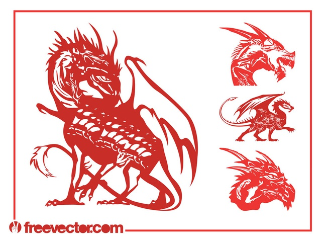 Vector Dragons Set free