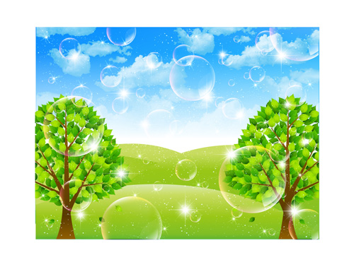 Bubble and tree leaves vector background 03 free