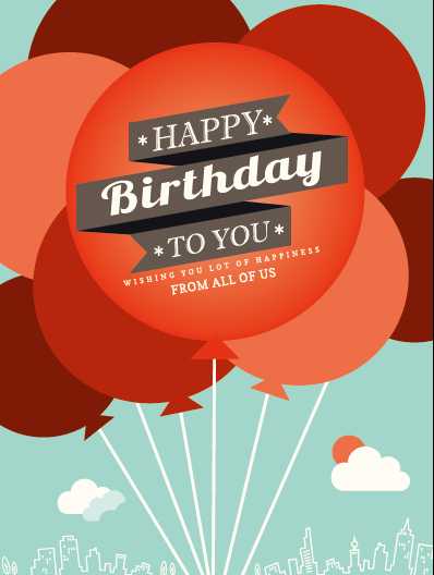 Cartoon balloons and birthday background vector free