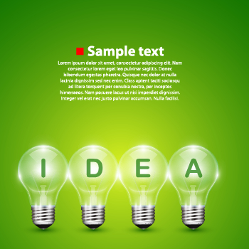Light bulb and green background vector free