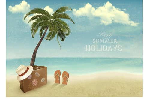 Summer holidays happy travel background vector graphic 02 free