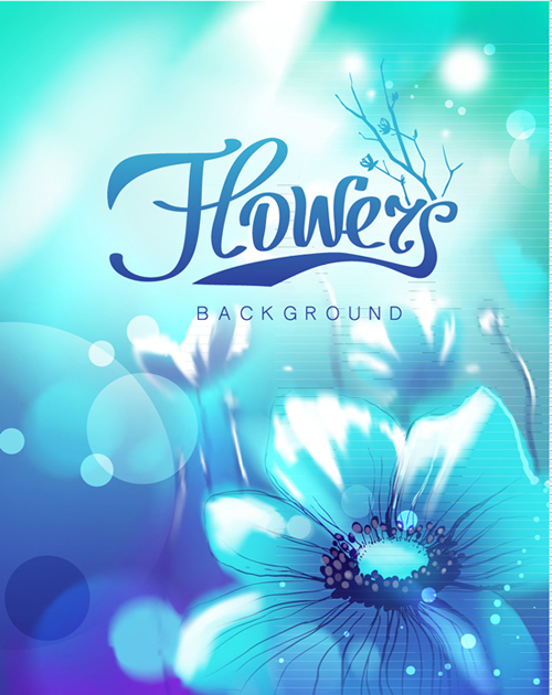 Sunlight and flower shiny background vector free