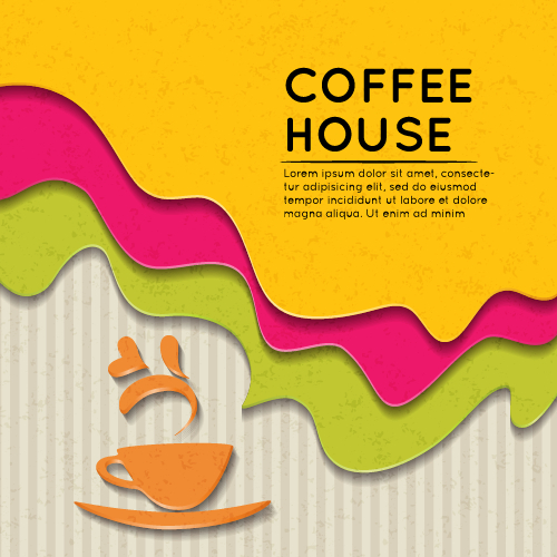 Wave coffee house background vector 02 free