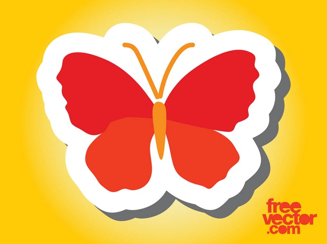 Butterfly Sticker Design vector free