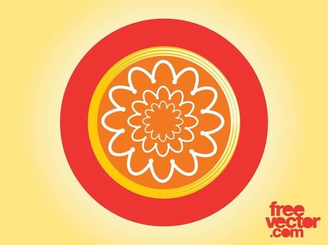 Floral Badge Design vector free