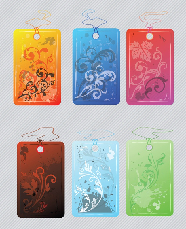 Flower Tags vector free
