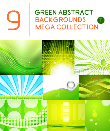 Green abstract background art vector set 02 free