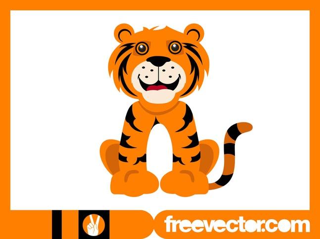 Happy Cartoon Tiger vector free