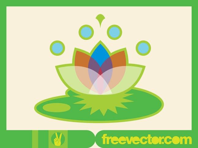 Lotus Icon Minimal Design vector free
