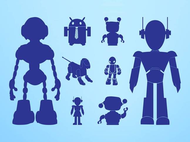 Robots Silhouettes Graphics vector free