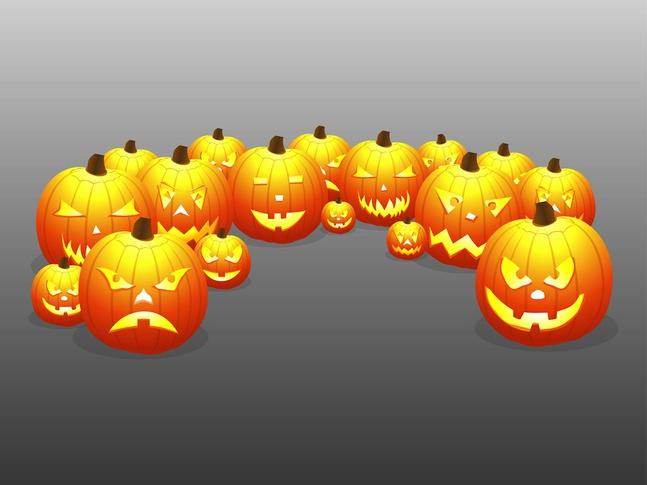 Scary Pumpkins vector free