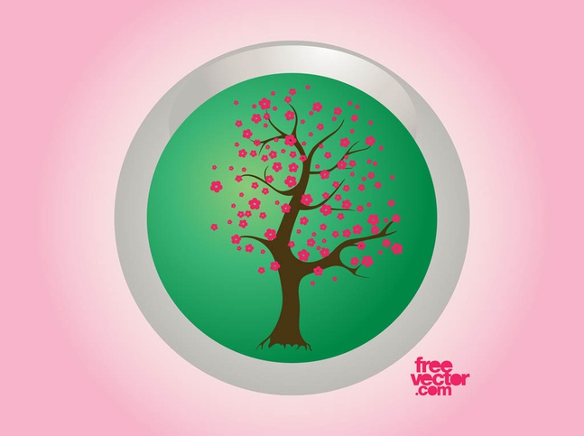 Spring Tree Badge vector free