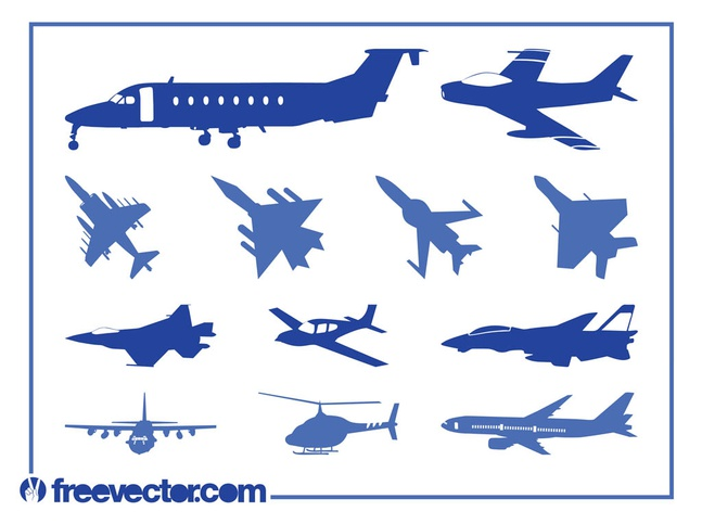 Aircraft Silhouettes Vector free