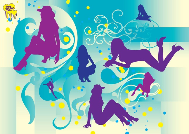 Beautiful Girls Silhouettes vector free