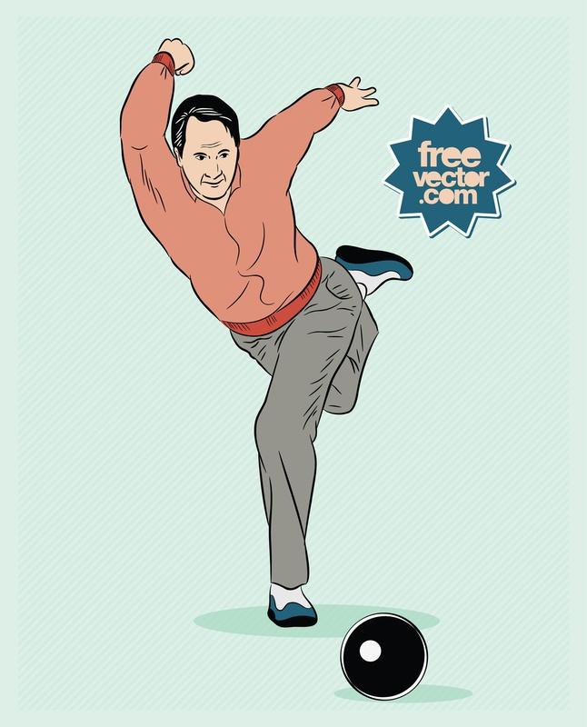 Bowling Man vector free