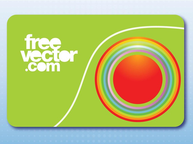 Business Card With Circles vector free