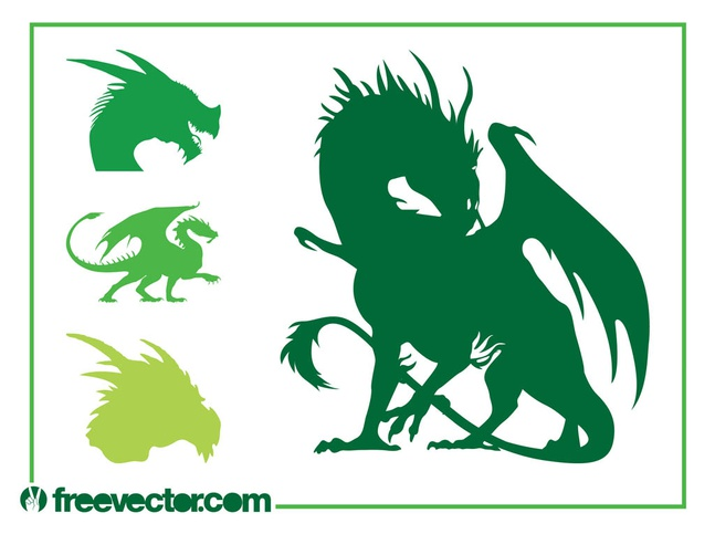 Dragon Silhouettes Set vector free