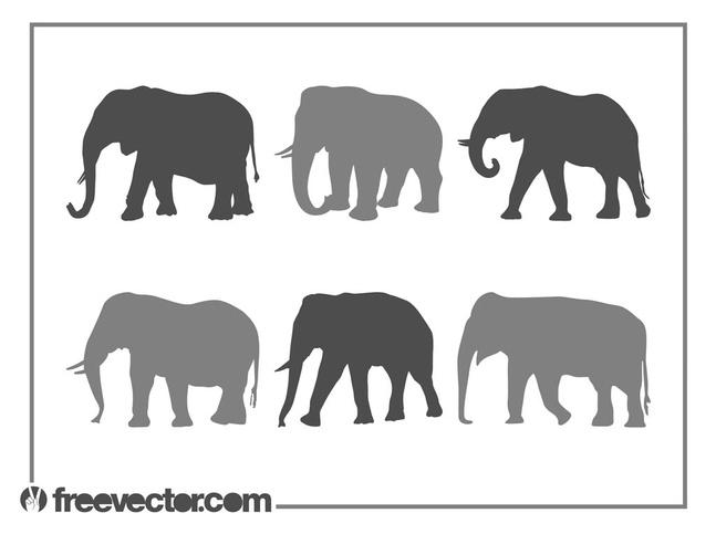 Elephants Silhouette Set vector free