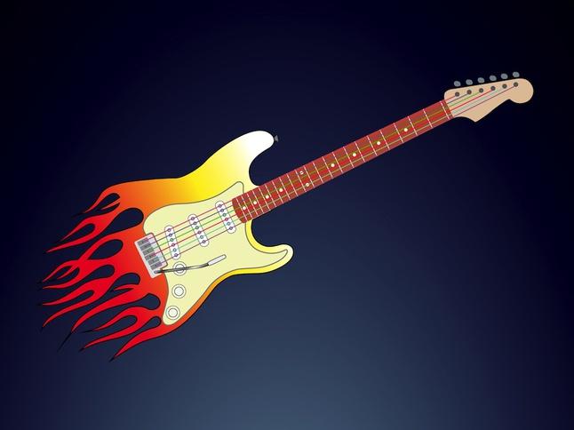 Flames Guitar vector free