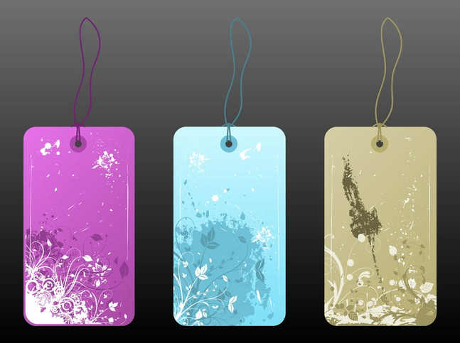 Floral Price Tags vector free