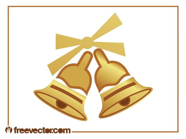 Golden Christmas Bells vector free