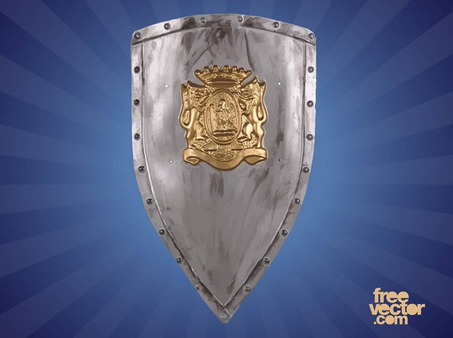 Heraldic Shield With Lions vector free