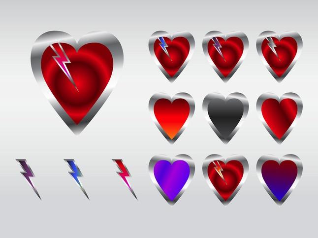 Lightning Hearts vector free