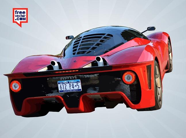 Red Ferrari Rear vector free