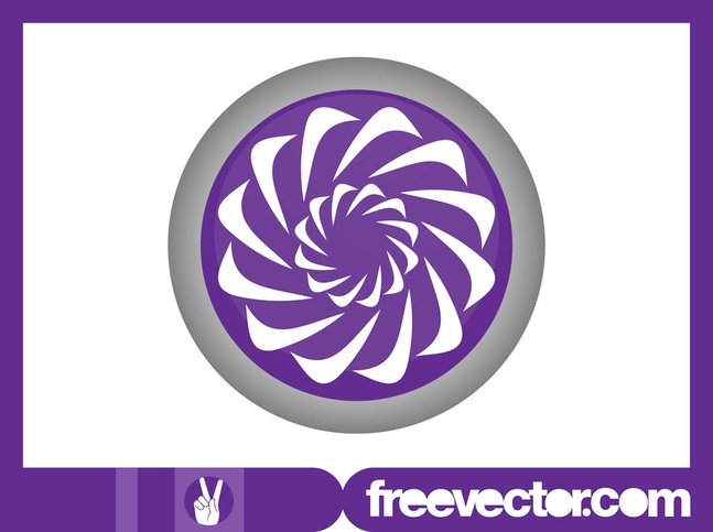 Round Floral Logo vector free