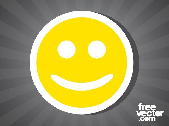 Smiley Face Sticker vector free