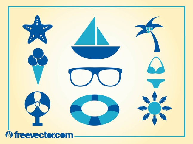 Summer Icons Vector free