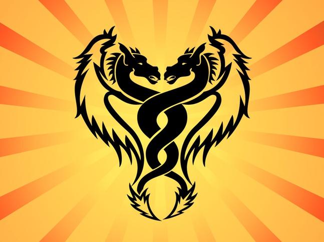 Twin Dragon Vector free