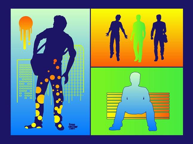 Urban Men Silhouettes vector free