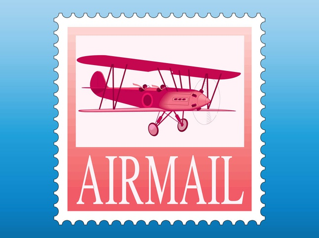 Airmail Stamp vector free