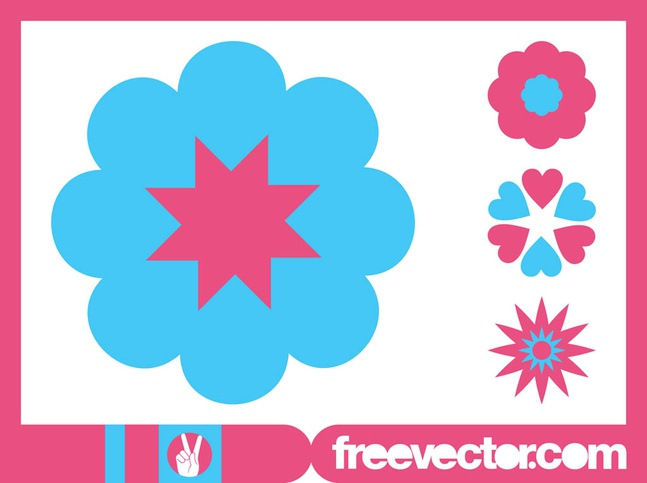 Blossoms Icons Graphics vector free