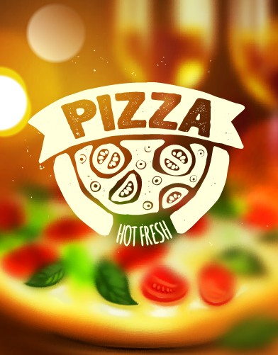 Blurred pizza background vector free